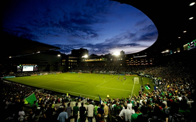 PORTLAND, OR - AUG 24: The sun sets at JELD-WEN Field on August 24, 2011.  (Craig Mitchelldyer/Portland Timbers)