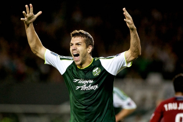 PORTLAND, OR - AUG 24: Eric Brunner celebrates his first half goal at JELD-WEN Field on August 24, 2011.  (Craig Mitchelldyer/Portland Timbers)