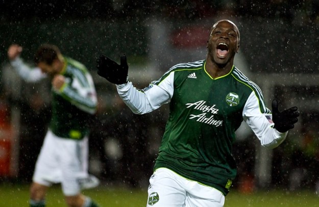 PORTLAND, OR - MAR 12: Portland Timbers defender Andrew Jean-Baptiste (35) celebrates after scoring a goal against the Philadelphia Union at JELD-WEN Field on March 12, 2012.  (Craig Mitchelldyer/Portland Timbers)
