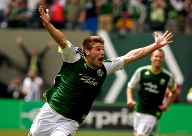 PORTLAND, OR - JUNE 24: Portland Timbers defender David Horst (12) celebrates after scoring a goal at JELD-WEN Field on June 24, 2012.  (Craig Mitchelldyer/Portland Timbers)