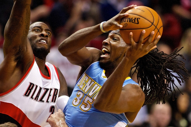 Dec 20, 2012; Portland, OR, USA; Denver Nuggets small forward Kenneth Faried (35) shoots over Portland Trail Blazers center J.J. Hickson (21) at the Rose Garden. Mandatory Credit: Craig Mitchelldyer-USA TODAY Sports