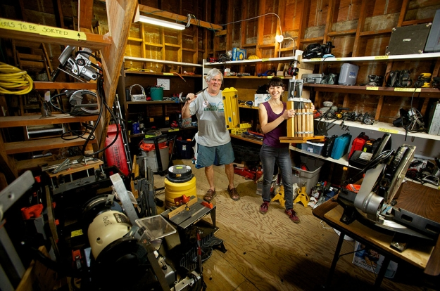 SEPTL board member/volunteer, Bob Weber with the KSSE founder, Robin Koch inside the tool library.  Photo by Portland Oregon Photographer Craig Mitchelldyer www.craigmitchelldyer.com 503.513.0550