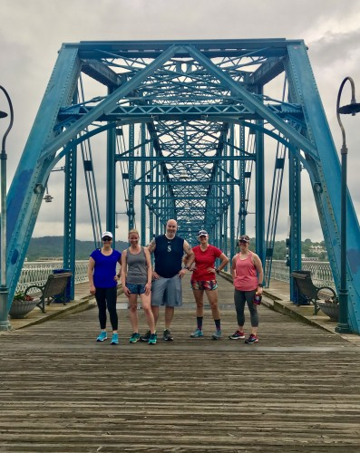 Our Chattanooga crew Friday morning run. Love the pedestrian bridge in downtown!